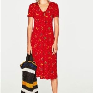 Zara red polka dot fruit spring 2017 maxi dress